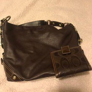 Brown Leather Coach Handbag w/ Wallet
